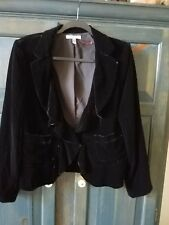 DKNY Black Velvet Jacket ruffled collar , Size 10