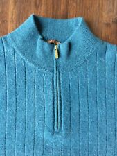 Men's 100% Cashmere XL Blue Zip Mock Neck Tasso Elba Pullover Sweater Soft