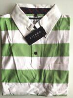 Kitaro Men Polo-Shirt Herren Kurzarm Weiß/Grün Gestreift Baumwolle Gr. L