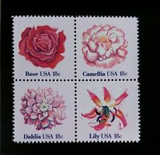 1981 18c Flowers, Rose, Lily, Block of 4 Scott 1876-79 Mint F/VF NH