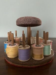 Vintage Sewing Thread Spool Holder And Pin Cushion Includes Vintage Thread
