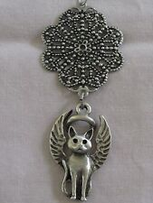 Pewter Guardian Angel Kitty-Cat Ornament~Memorial Keepsake~Good Luck Charm