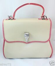 BARRY KIESELSTEIN-CORD HAND SHOULDER BAG LEATHER BEIGE PINK SILVER CROCODILE