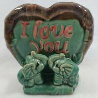 I Love You Green Elephant and Bamboo Pottery Vase, Elephant Couple, Anniversary