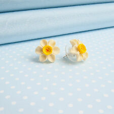 DAFFODIL  EARRINGS  hand-painted flower jewellery  MADE IN WALES UK