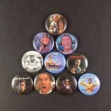 """Arnold Schwarzenegger 1"""" PIN BUTTON lot Terminator Commando Predator Conan"""