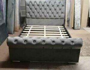 Sleigh Chesterfield scroll Upholstered Designer plush Velvet Bed