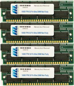 64MB (4 X16MB) 30pin SIMM RAM MEMORY 16X8 FOR MAC PERFORMA, QUADRA, IIsi,IIcx