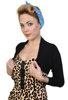 Banned PLAIN Bolero Rockabilly 50s Shrug Crop Top Long Sleeve 10 12 14 16 BLACK