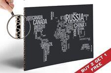 Mappa del Mondo a parole poster stampa 30x21cm Carta fotografica a Thick Cardboard ART DECO