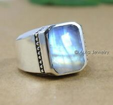Solid 925 Sterling Silver Natural Blue Rainbow Moonstone Gemstone Mens Ring#3370