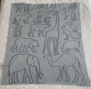 Weegoamigo 100% Cotton Knit Baby Blanket Cot Pram Bassinet Reversible Animals