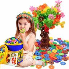 100pcs/set Plastic DIY Snowflake Puzzle Building Blocks Kids Educational Toys US