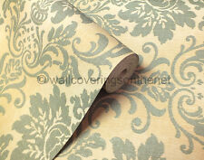 Teal & Cream With Glitter, Solid Vinyl, Fabric Effect, Damask Design Wallpaper