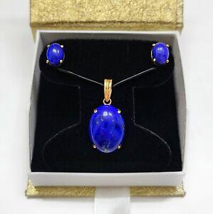 14K Gold Lapis Lazuli Pendant & Earrings Vintage Fine Jewelry Set