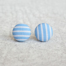 Button Earrings Blue Stripes Fabric