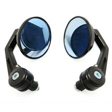 Pair Motorcycle ATV CNC Aluminum Black Small Round Rear View Side Blue Mirrors