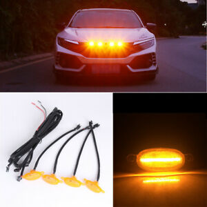 4X Universal SUV Front Grille Yellow Lens Amber LED Lamp Running Warning Light