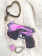 Game Overwatch D.VA Gun Acrylic Keychain Key Ring Pendant Birthday Gift 7.7cm
