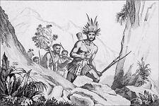 BRÉSIL - CHEF INDIEN des BORORENOS au 19eme siècle - Gravure du 19e siècle