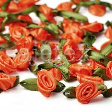 50pcs Satin Ribbon Rose Flower Craft Wedding Appliques Decor Wholesale FBRN31