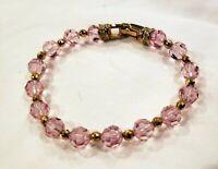 Authentic Signed Swan Swarovski Pink Crystal Bracelet