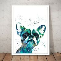 French Bulldog Cute Painting Dog Unique Art Poster Print - A4 A3 A2 A1 A0 Framed