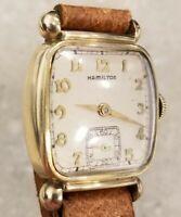 "1940s Vintage HAMILTON USA ""MARTIN"" 987A 17J FANCY DRESS WATCH 10K GF"