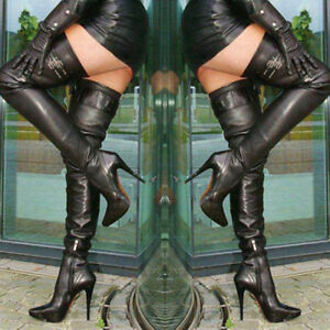 Fashion Women Black Shoes Women Thigh High Boots High Heels Over the Knee Boots