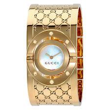 Gucci Twirl G-Tone White Dial Ladies Bangle Watch YA112440