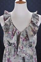 Ann Taylor Loft Gray Purple Soft Floral Sleeveless Ruffled Dress Size 4