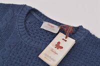 Gran Sasso NWT Crew Neck Sweater Size 50 40 US M In Blue Cable Knit Wool