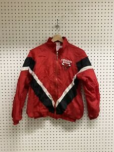 Vintage Chicago Bulls Jump Ball Club Zip Up Red Jacket Sz YOUTH L