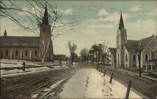 Shelton CT Churches & Street c1910 Postcard