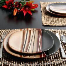 32 Piece Dinnerware Set Dining Plates Dishes Bowl Kitchen Dinner Stoneware Brown