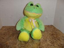 "12"" Green & Yellow FROG Velvety Plush BEANPALS Kellytoy Soft Stuffed Toy used"