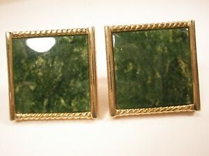 -Jade Green Stone & Gold Tone Quality Square Vintage Cuff Links simple design