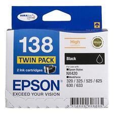 GENUINE Epson 138 Black TWIN PACK Ink Cartridge Toner T138194 Stylus WorkForce