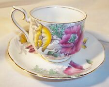 ROYAL ALBERT BONE CHINA ENGLAND POPPY CUP AND SAUCER HAND PAINTED WITH GOLD