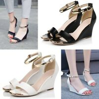 Women Ankle Strap Sandals Wedge High Heels Open Toe Buckle Casual Party Shoes
