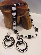 Vtg MIRIAM HASKELL Black & White Cube GLASS NECKLACE + Lucite Dangle Earrings