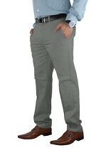 Mens Stretch Chino Trouser Cotton Slim Fit Jeans Khakis Casual Spandex Pants Grey 34 32