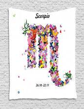 Zodiac Scorpio Tapestry Floral Butterfly Print Wall Hanging Decor