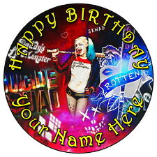 """SUICIDE SQUAD HARLEY QUINN - 7.5"""" PERSONALISED ROUND EDIBLE ICING CAKE TOPPER 1"""