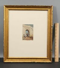 Small Antique F or E F Lincoln, Orientalist Watercolor Painting, Indian Elephant