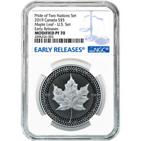 2019 Modified Proof $5 Silver Canadian Maple Leaf NGC PF70 Blue ER Label Pride o