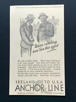 1938 Newspaper Clipping ANCHOR LINE, IRELAND TO USA, BELFAST & LONDONDERRY