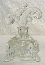 Vtg Molded Glass Fern Leaf Stopper Footed Pedestal Base Perfume Bottle Inkwell