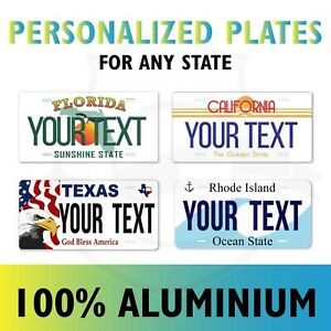 Any State Text License Plate Personalized Custom Auto Car Bike Bicycle Tag ATV