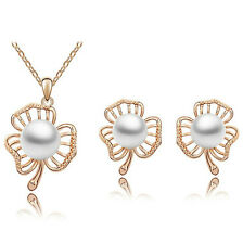 Bridal Jewellery Set White Pearl & Gold Leafs Studs Earrings & Necklace S595